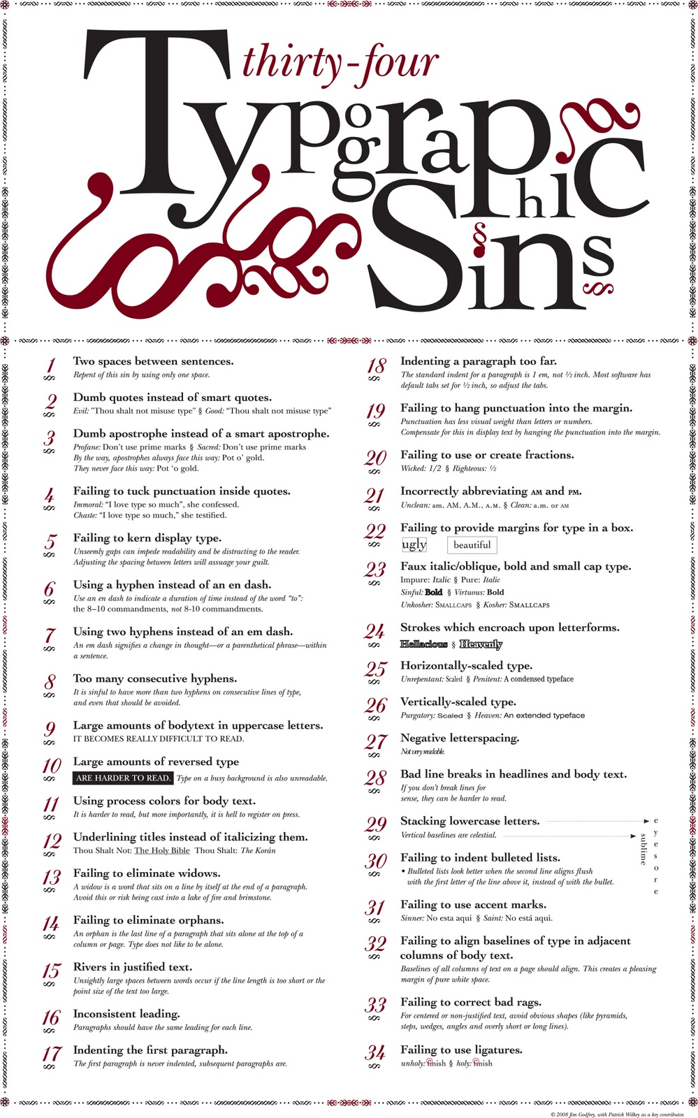 34 Sins Of Typography Infographic
